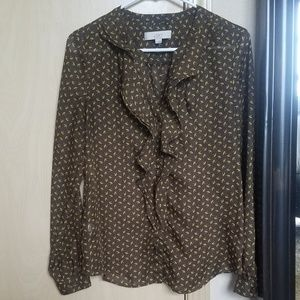 Brown and Gold Print Long Sleeve Blouse